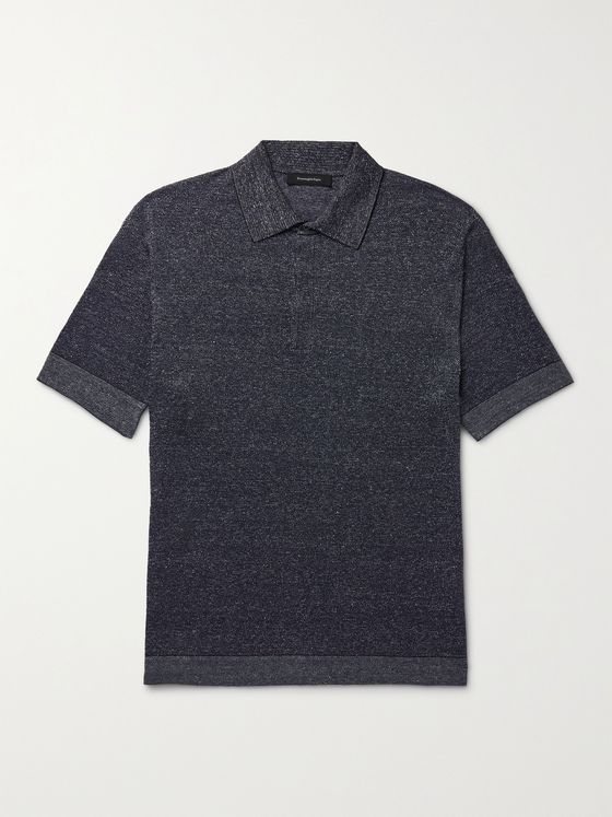 ERMENEGILDO ZEGNA Mélange Cotton, Linen and Silk-Blend Polo Shirt