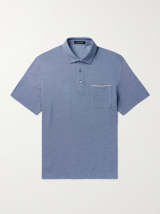 ERMENEGILDO ZEGNA Leather-Trimmed Cotton-Piqué Polo Shirt