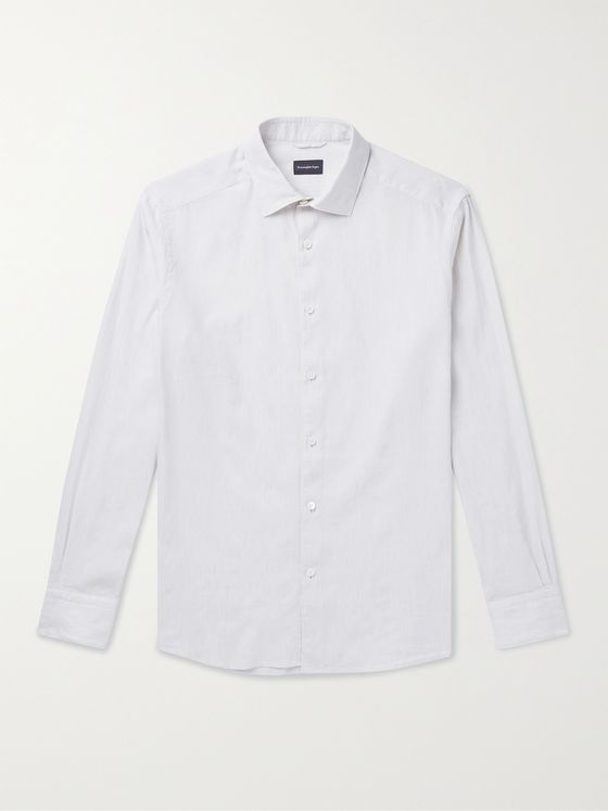 ERMENEGILDO ZEGNA Cutaway-Collar Slub Linen and Cotton-Blend Shirt
