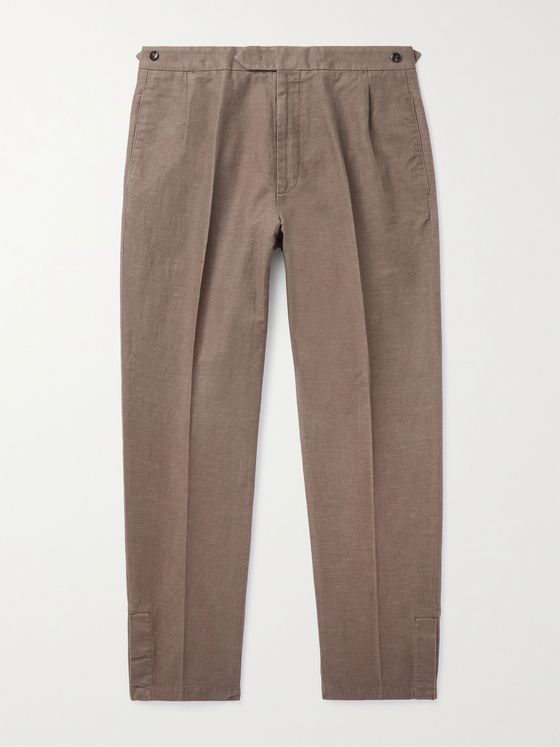 ERMENEGILDO ZEGNA Pleated Cotton and Linen-Blend Trousers