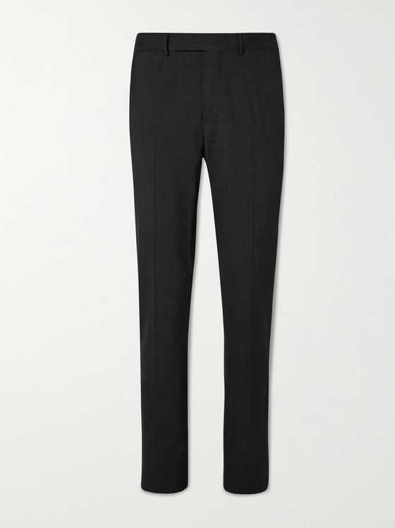 ERMENEGILDO ZEGNA Slim-Fit Micro-Checked Merino Wool-Blend Seersucker Trousers