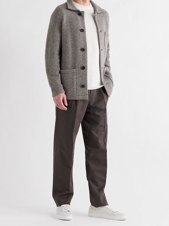 ERMENEGILDO ZEGNA Tapered Pleated Cotton and Linen-Blend Trousers