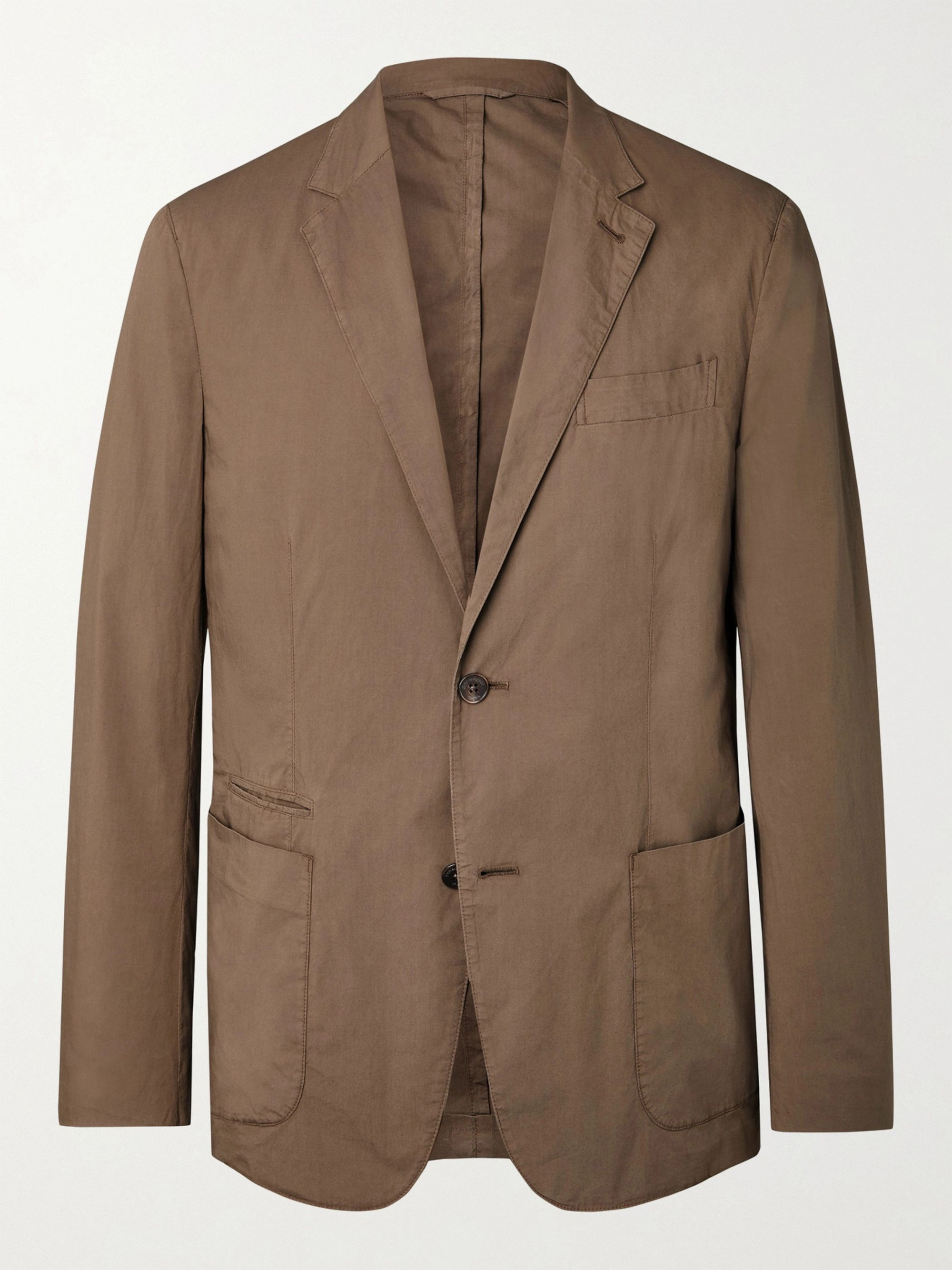ERMENEGILDO ZEGNA Unstructured Garment-Dyed Telavela Stretch-Cotton Blazer