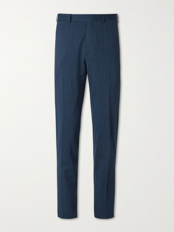 ERMENEGILDO ZEGNA Slim-Fit Micro-Gingham Cotton-Seersucker Suit Trousers