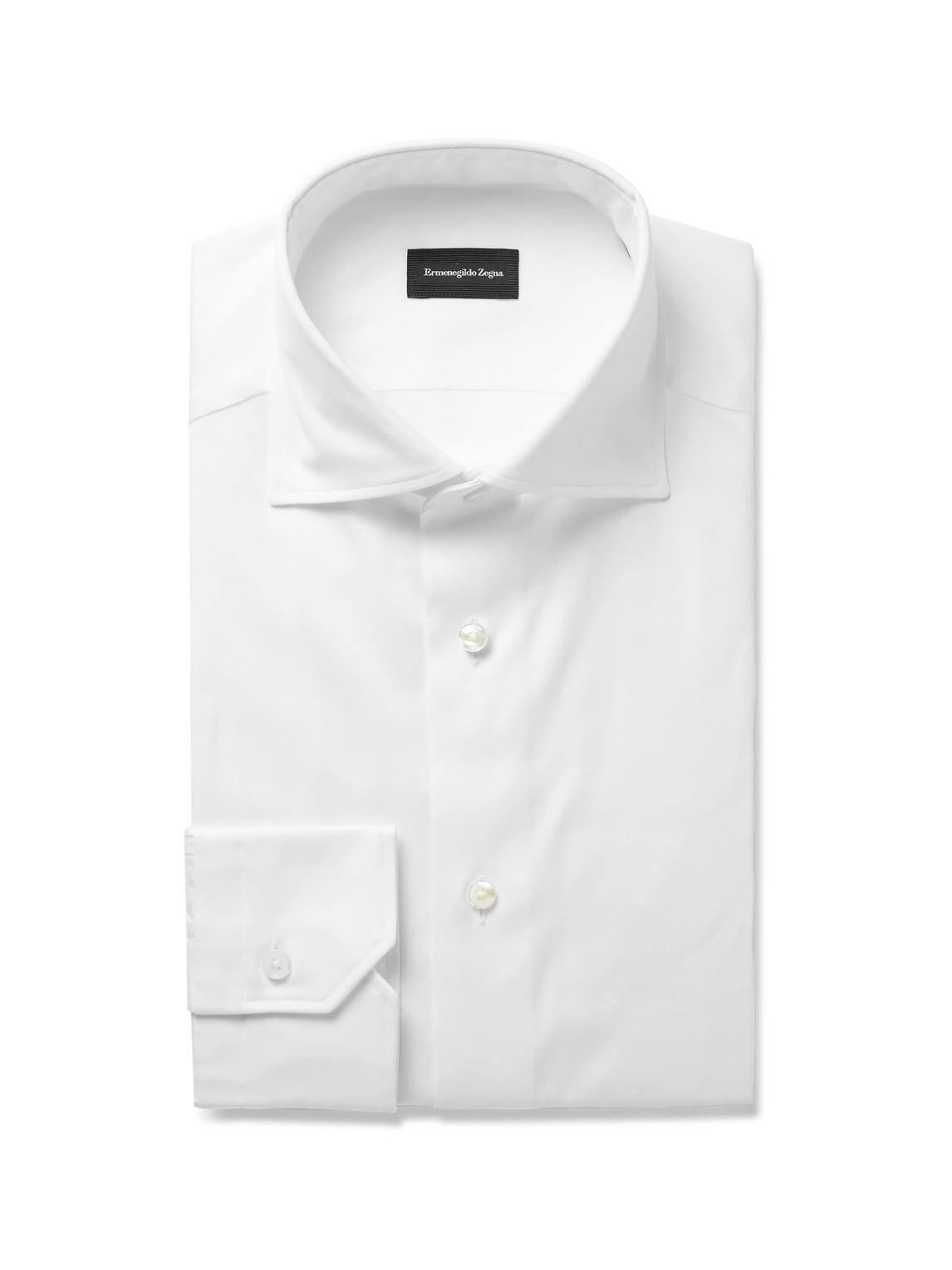 ermenegildo zegna - cutaway-collar cotton-twill shirt - men - white - eu 38