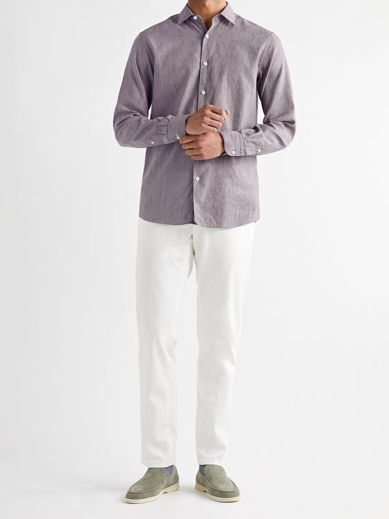 ERMENEGILDO ZEGNA Cutaway-Collar Mélange Slub Linen and Cotton-Blend Shirt