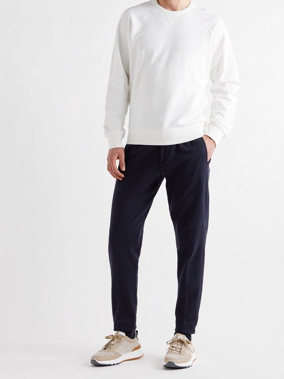 ERMENEGILDO ZEGNA Tapered Cotton and Silk-Blend Sweatpants