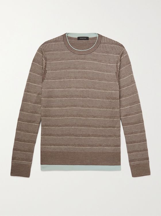 ERMENEGILDO ZEGNA Layered Striped Mélange Silk, Cotton and Linen-Blend Sweater