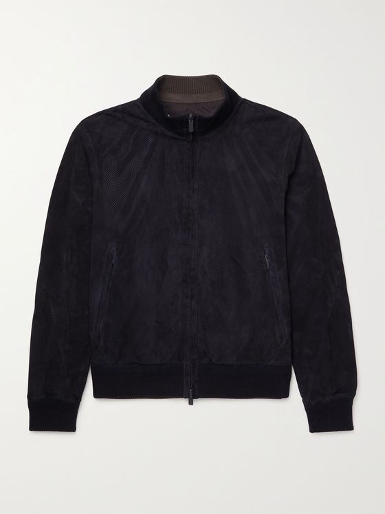 ERMENEGILDO ZEGNA Slim-Fit Reversible Perforated Suede Blouson Jacket