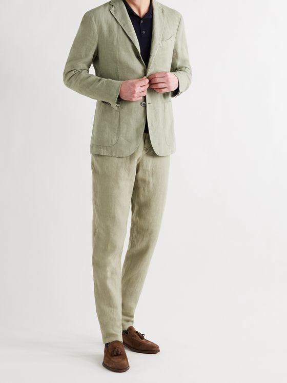 BOGLIOLI Slim-Fit Linen Suit Trousers