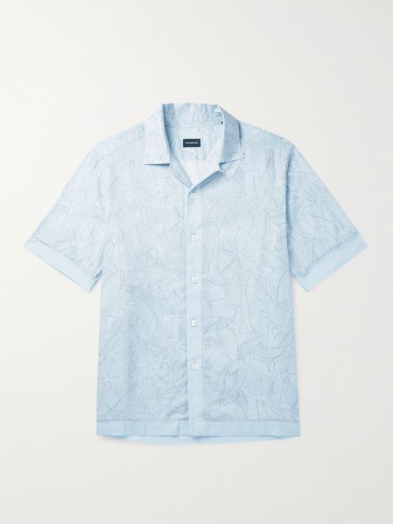 ERMENEGILDO ZEGNA Convertible-Collar Printed Linen and Cotton-Blend Shirt