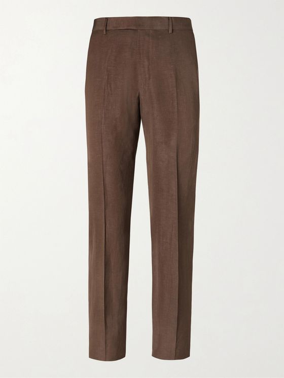 ERMENEGILDO ZEGNA Wool and Linen-Blend Trousers