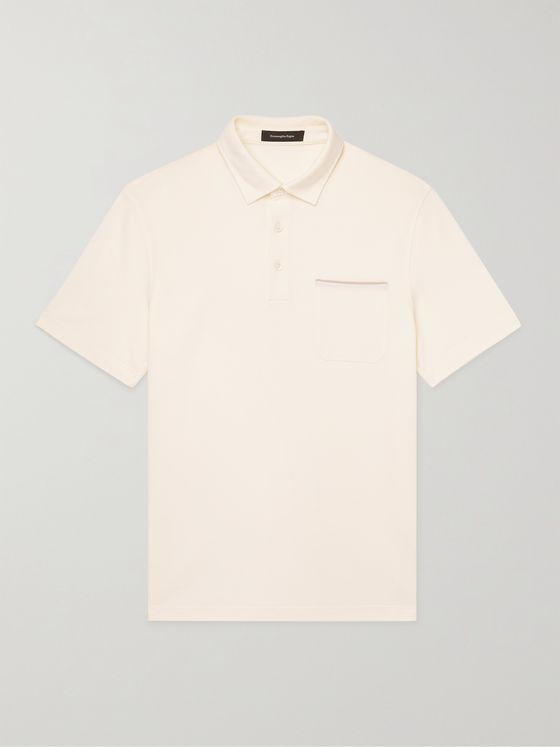 ERMENEGILDO ZEGNA Slim-Fit Leather-Trimmed Cotton-Piqué Polo Shirt