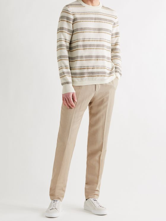 ERMENEGILDO ZEGNA Striped Cotton and Silk-Blend Sweater