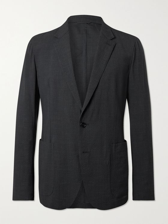 ERMENEGILDO ZEGNA Slim-Fit Unstructured Micro-Checked Wool-Blend Seersucker Suit Jacket