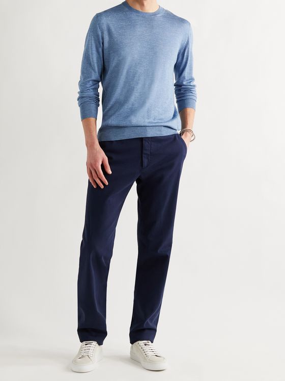 ERMENEGILDO ZEGNA Mélange Silk, Cashmere and Linen-Blend Sweater