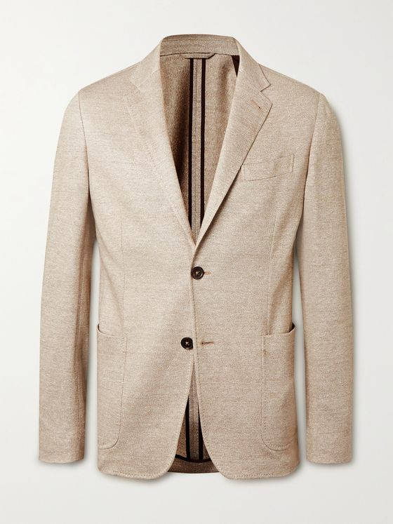ERMENEGILDO ZEGNA Slim-Fit Linen and Cotton-Blend Jersey Blazer