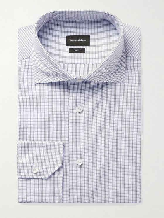 ERMENEGILDO ZEGNA Cutaway-Collar Micro-Checked Cotton Shirt