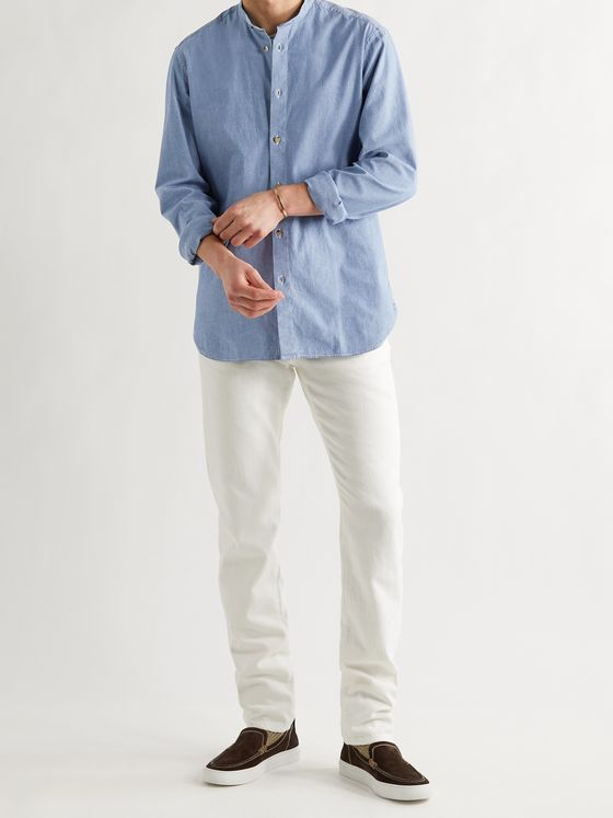 BOGLIOLI Grandad-Collar Cotton-Chambray Shirt