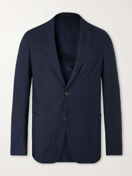 ERMENEGILDO ZEGNA Slim-Fit Cotton-Seersucker Blazer