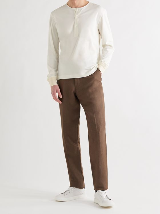 ERMENEGILDO ZEGNA Cotton and Silk-Blend Henley T-Shirt