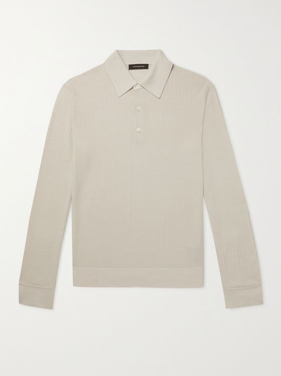 ERMENEGILDO ZEGNA Herringbone Silk and Wool-Blend Polo Shirt