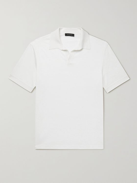 ERMENEGILDO ZEGNA Cotton, Silk and Linen-Blend Polo Shirt