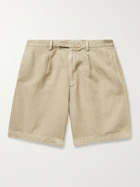 BOGLIOLI Pleated Cotton and Hemp-Blend Shorts
