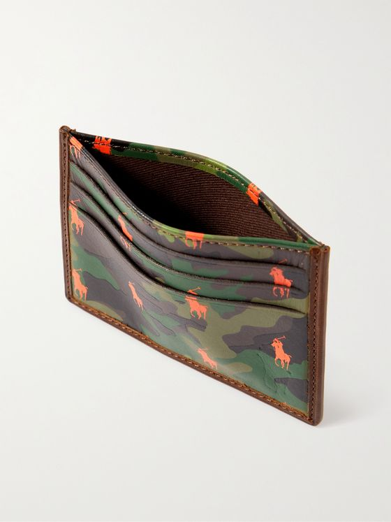 POLO RALPH LAUREN Logo- and Camouflage-Print Leather Cardholder
