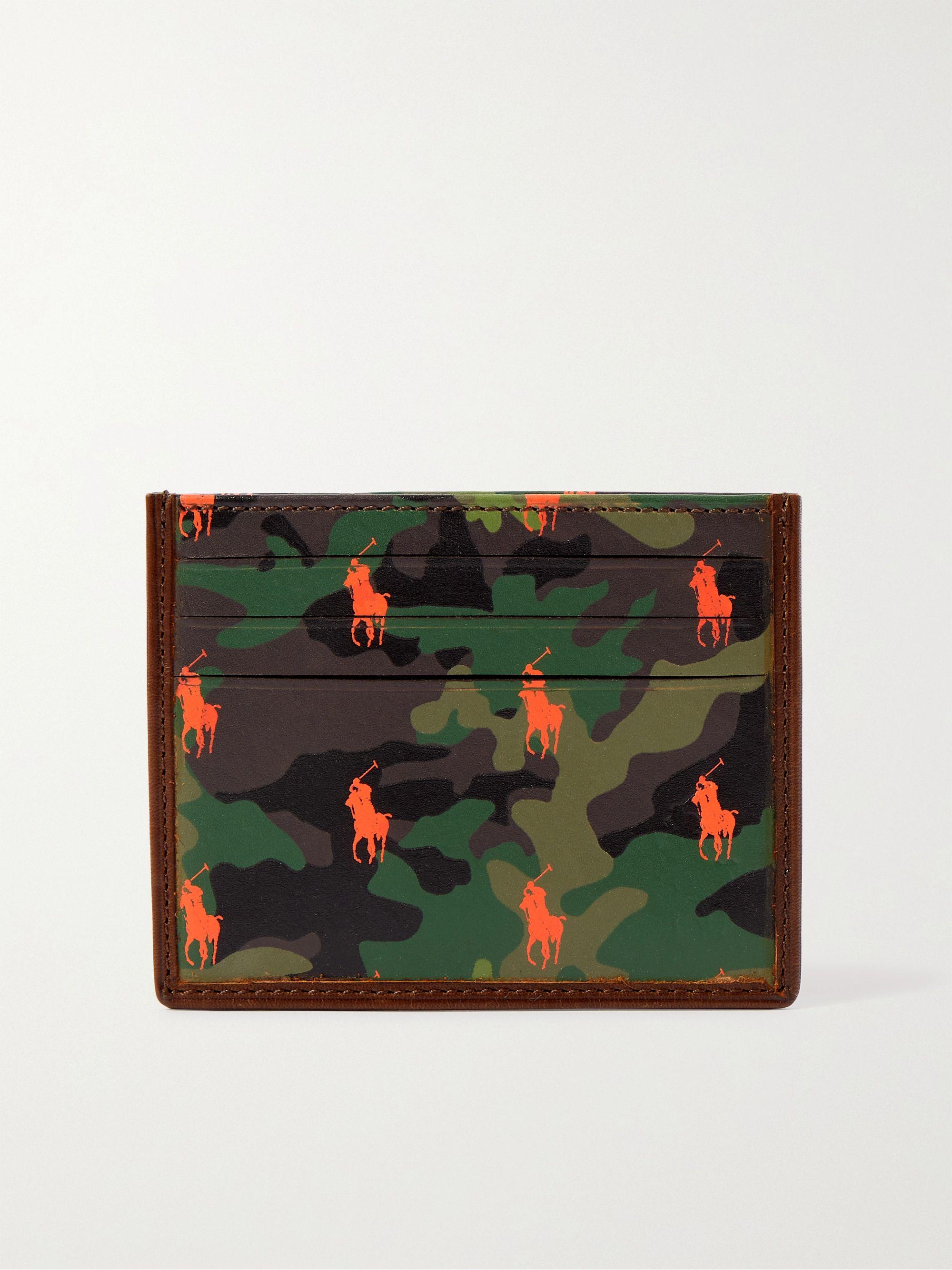 폴로 랄프로렌 Polo Ralph Lauren Logo- and Camouflage-Print Leather Cardholder,Brown