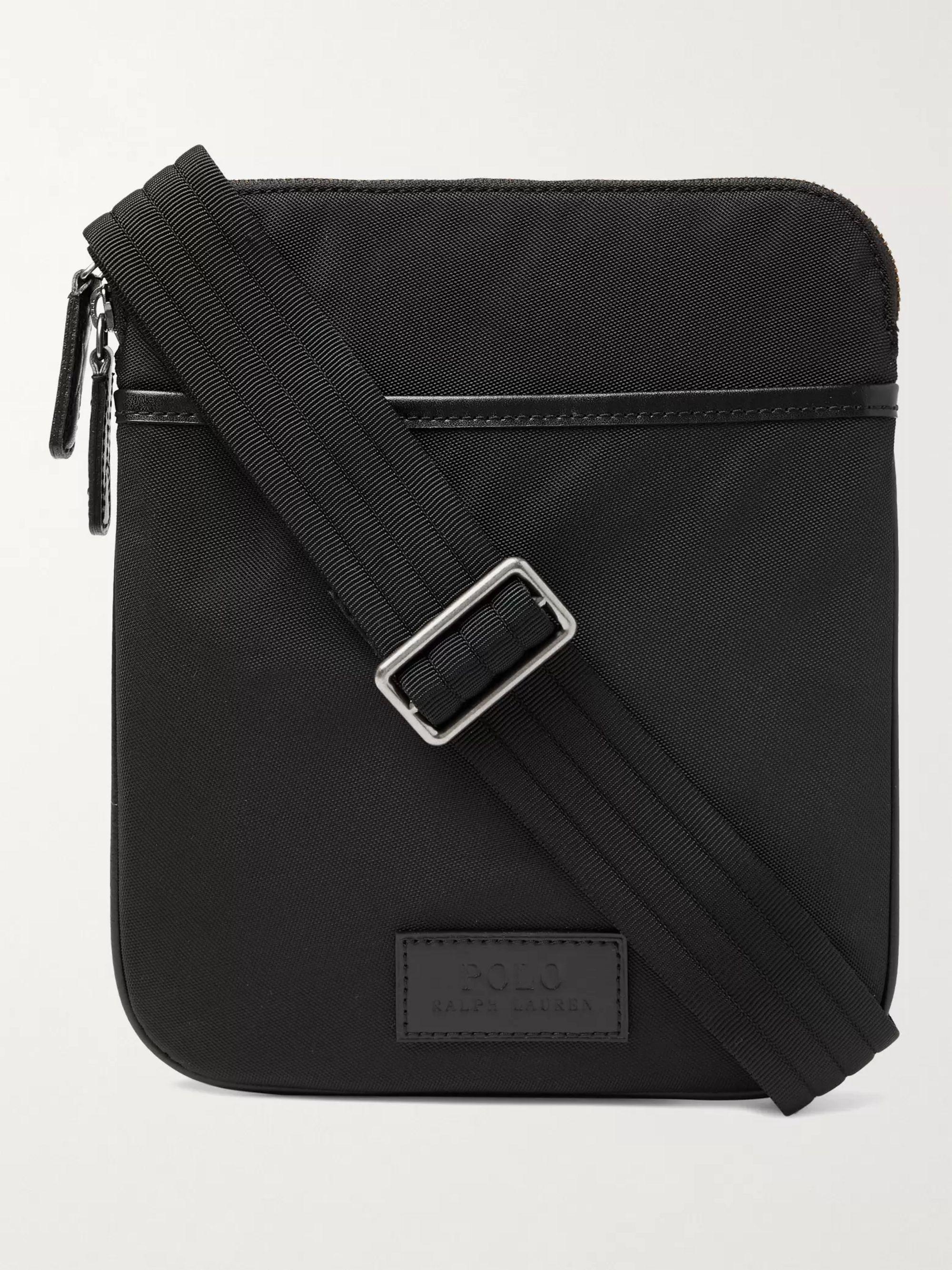 폴로 랄프로렌 Polo Ralph Lauren Leather-Trimmed Nylon Messenger Bag,Black
