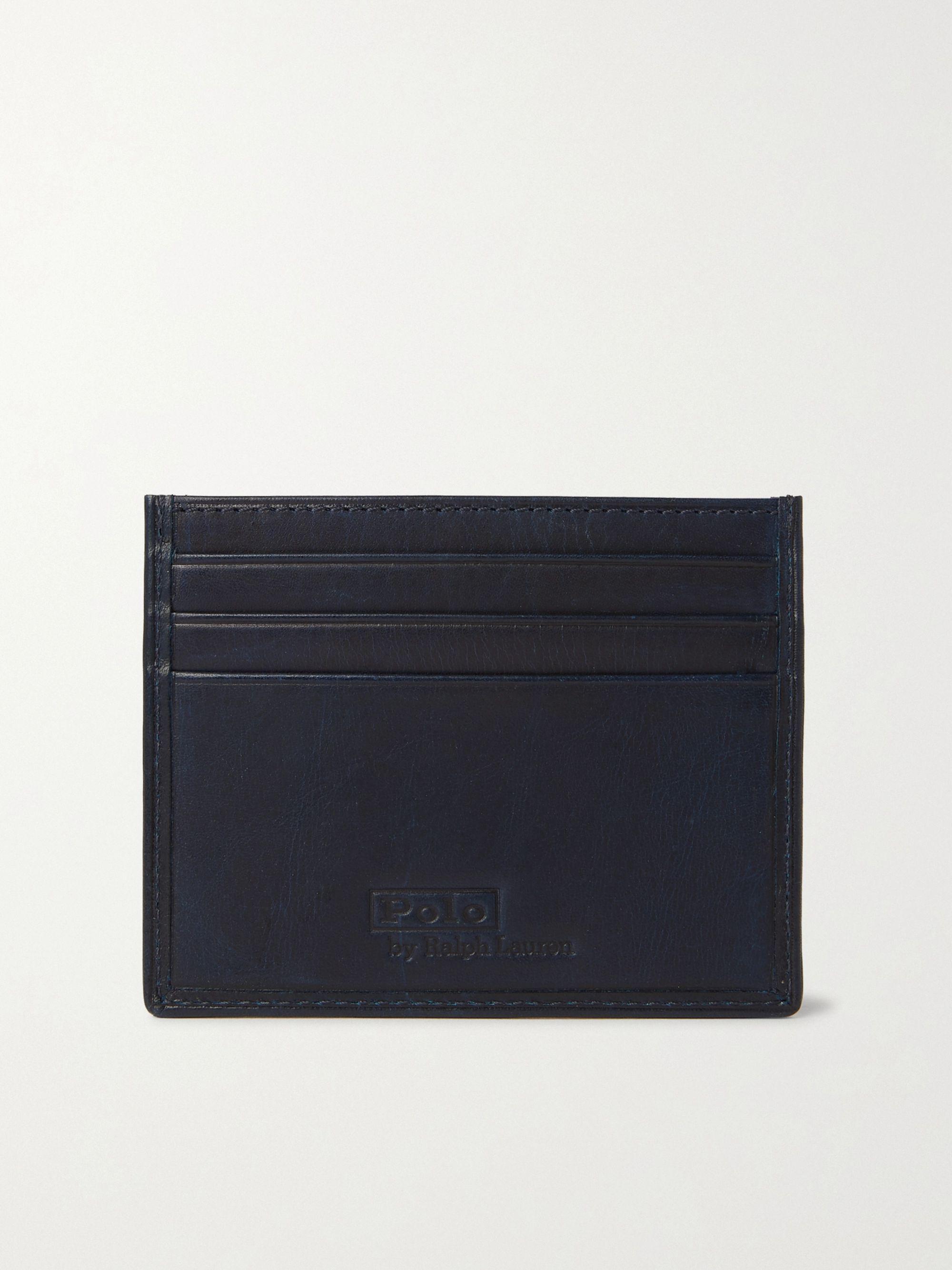 폴로 랄프로렌 Polo Ralph Lauren Printed Leather Cardholder,Navy