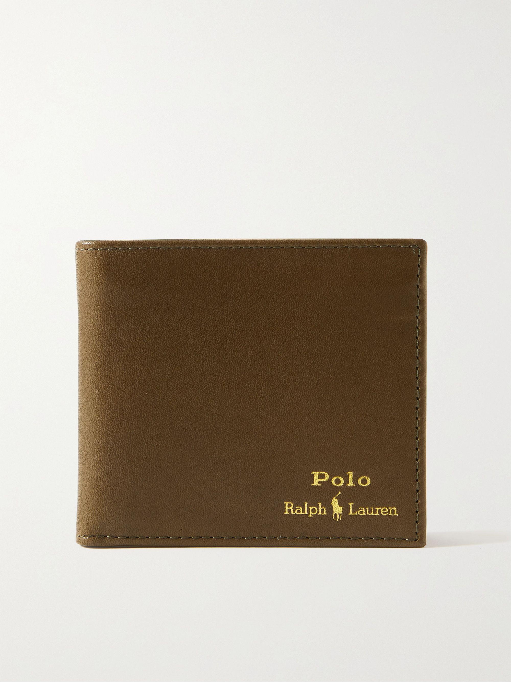 폴로 랄프로렌 로고 반지갑 Polo Ralph Lauren Logo-Print Leather Billfold Wallet,Army green
