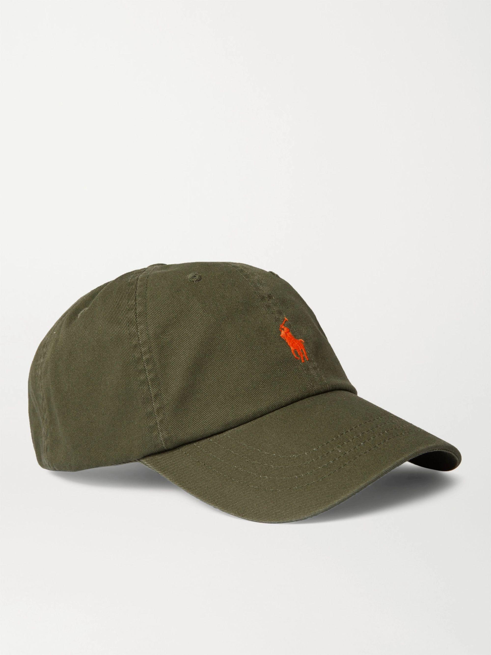 폴로 랄프로렌 Polo Ralph Lauren Logo-Embroidered Cotton-Twill Baseball Cap,Green