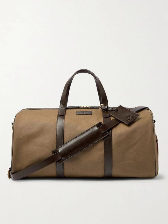 POLO RALPH LAUREN Leather-Trimmed Canvas Duffle Bag