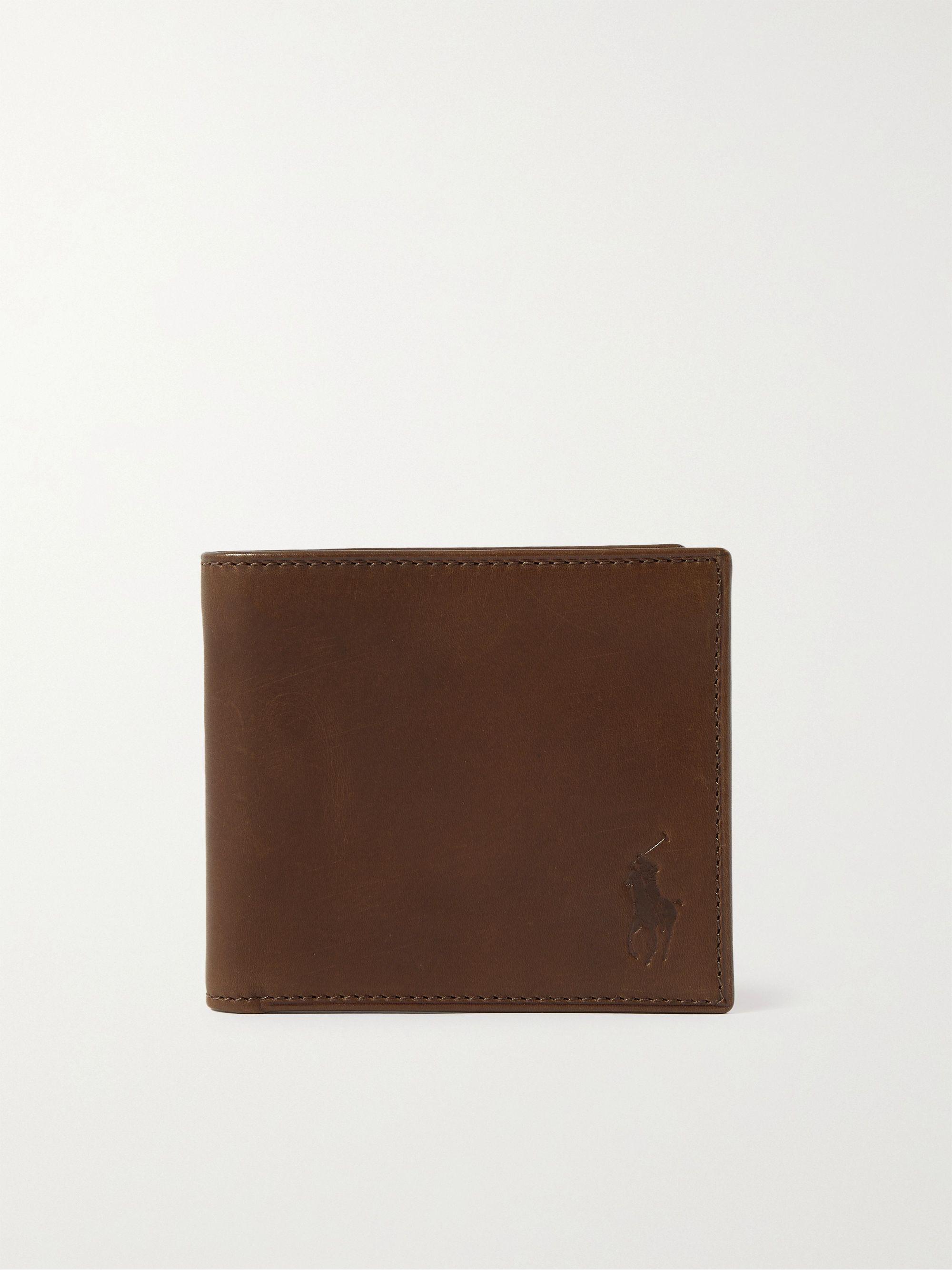 폴로 랄프로렌 Polo Ralph Lauren Logo-Debossed Leather Billfold Wallet,Brown