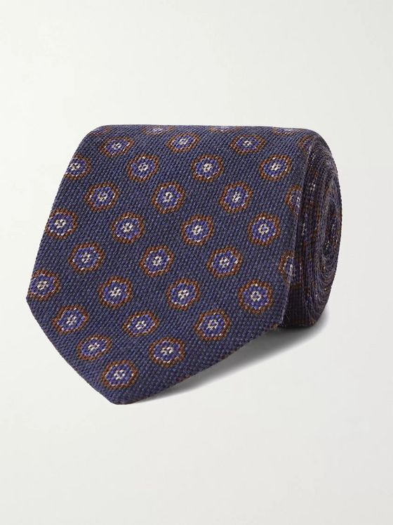 Anderson & Sheppard 9cm Floral-Print Wool and Silk-Blend Tie