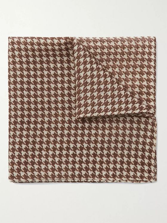 Anderson & Sheppard Houndstooth Wool and Silk-Blend Pocket Square