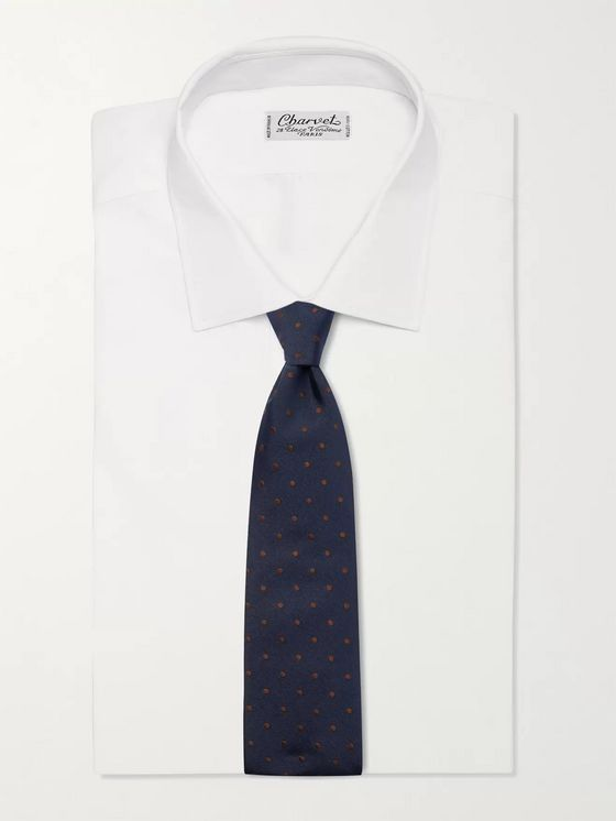 Anderson & Sheppard 9cm Polka-Dot Embroidered Silk-Twill Tie