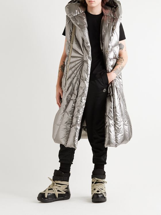 RICK OWENS + Moncler Porterville Oversized Logo-Appliquéd Hooded Metallic Shell Down Gilet