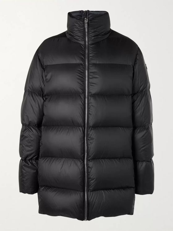 Rick Owens + Moncler Cyclopic Logo-Appliquéd Quilted Shell Down Coat