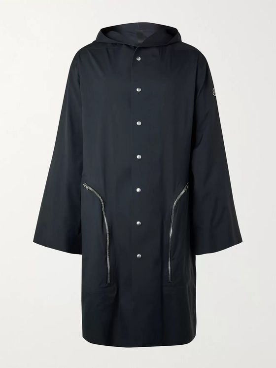 Rick Owens + Moncler Nesbitt Oversized Hooded Coated-Canvas Coat