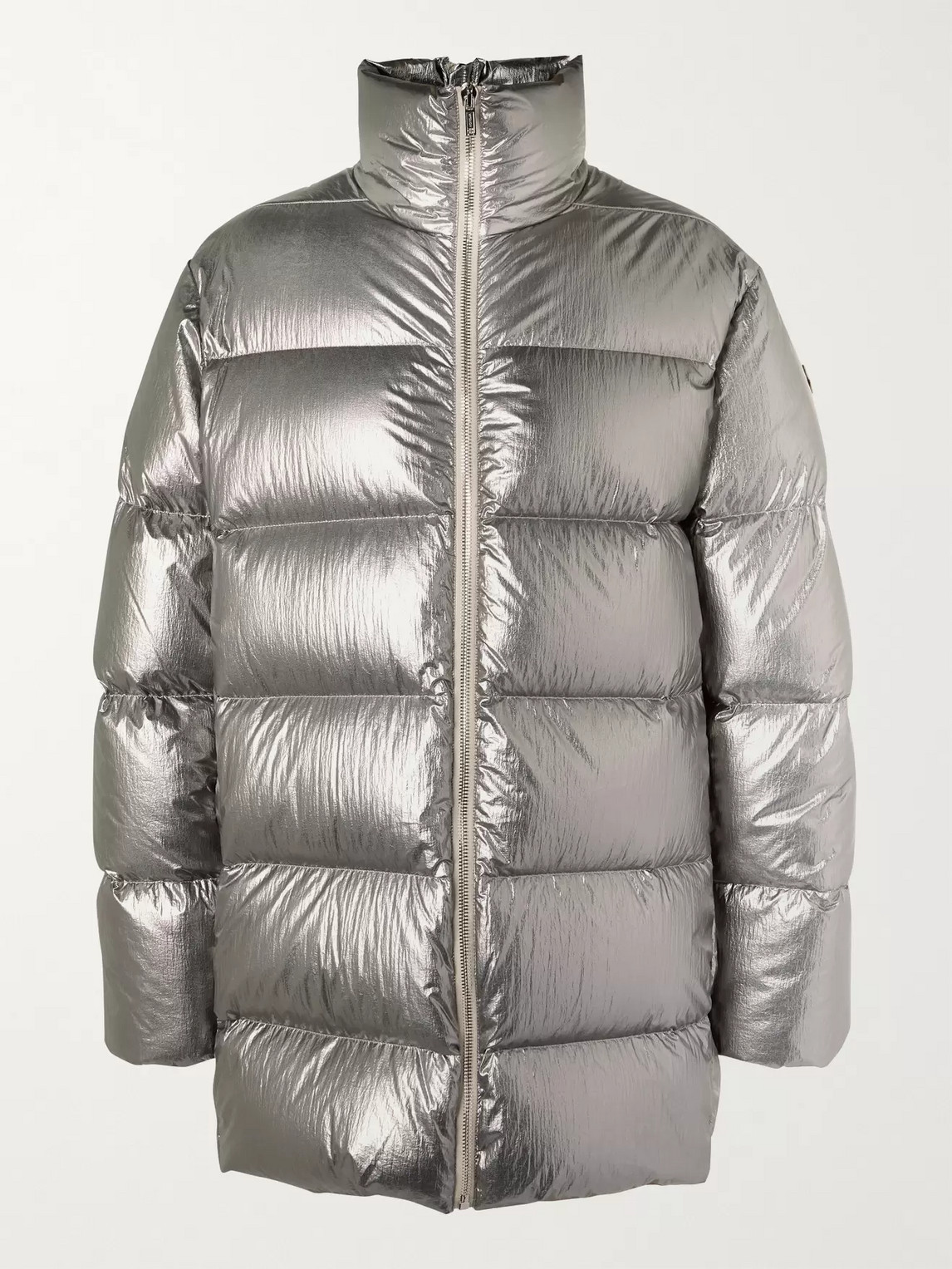 Rick Owens - Moncler Cyclopic Logo-Quilted Metallic Shell Down Coat - Men - Silver
