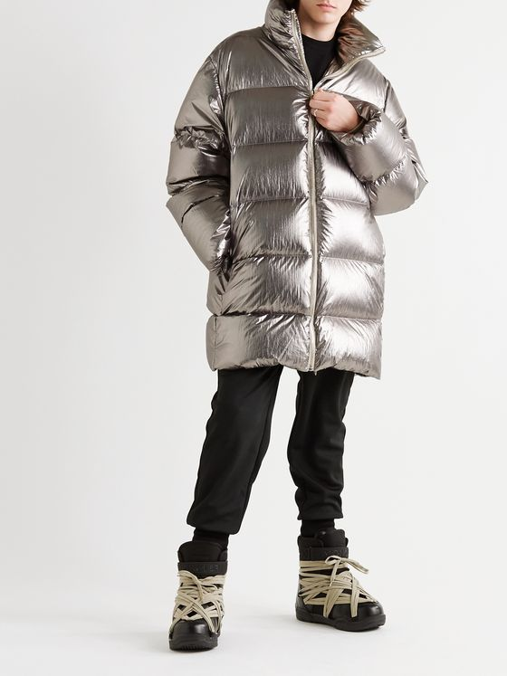 Rick Owens + Moncler Cyclopic Logo-Appliquéd Quilted Metallic Shell Down Coat