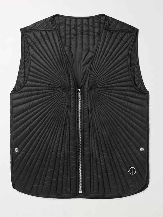 Rick Owens + Moncler Moapa Logo-Appliquéd Quilted Shell Down Gilet