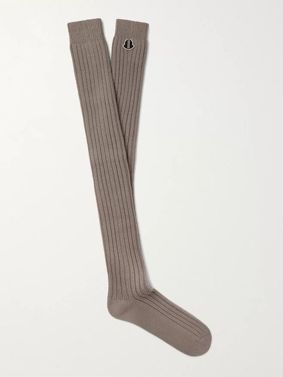 Rick Owens + Moncler Ribbed Virgin Wool-Blend Socks