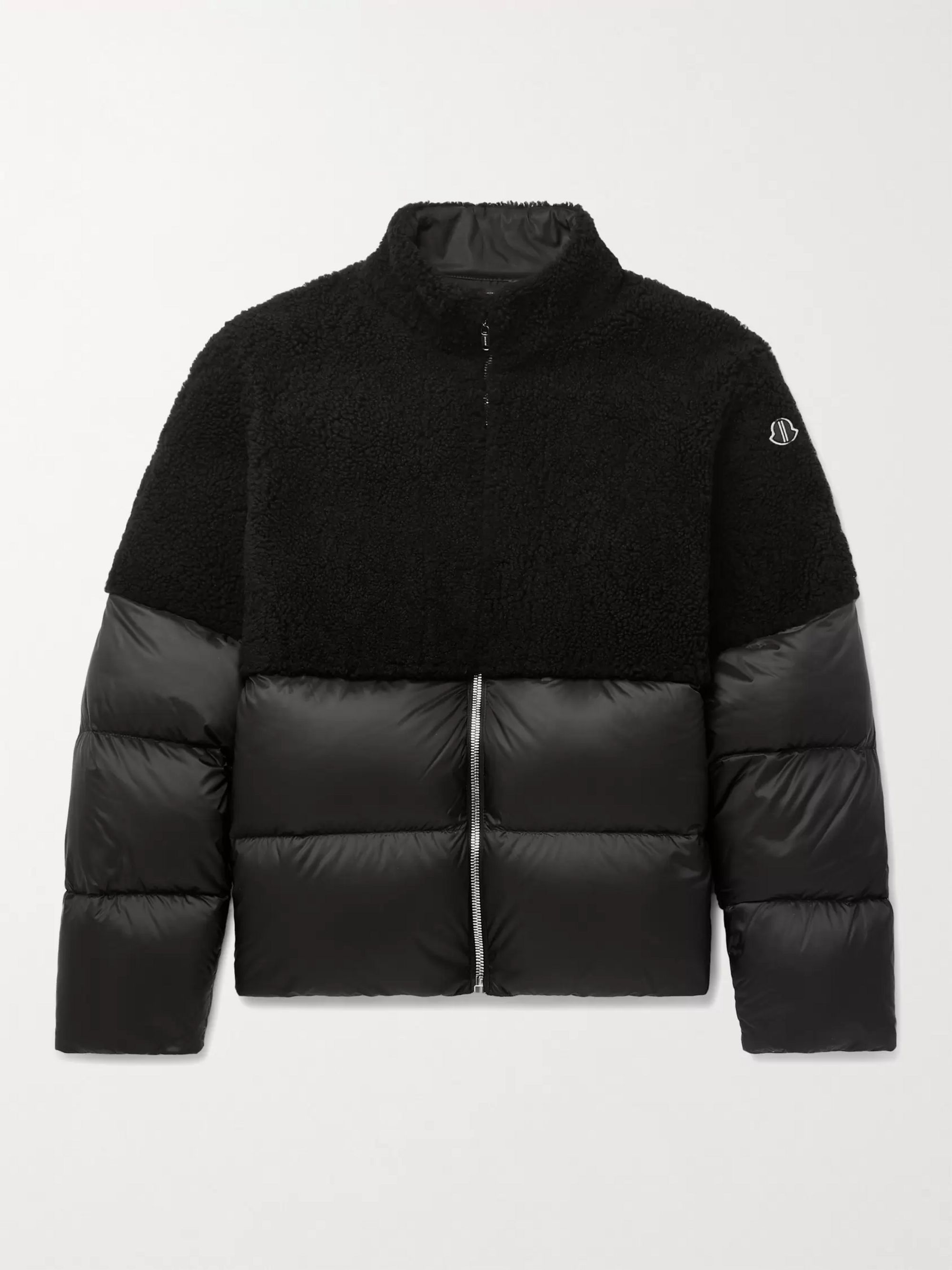 + Moncler Coyote Logo Appliquéd Quilted Shell and Shearling Down Jacket