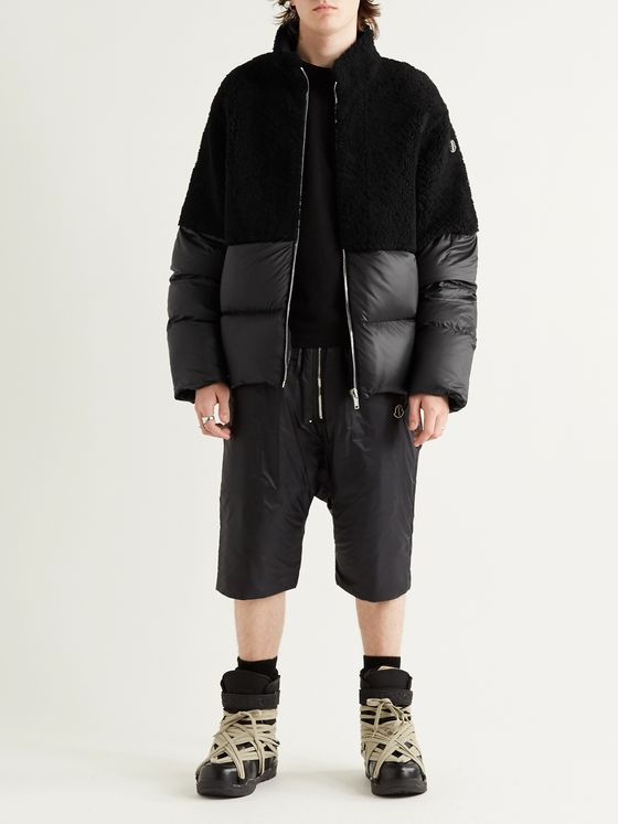 Rick Owens + Moncler Coyote Logo-Appliquéd Quilted Shell and Shearling Down Jacket