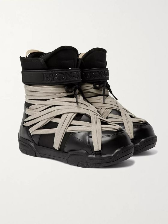 Rick Owens + Moncler Amber Canvas-Trimmed Leather Snow Boots