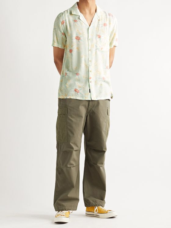 Faherty Kona Camp-Collar Printed Recycled Voile Shirt